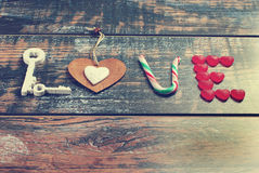 The word LOVE made of various objects in vintage style Royalty Free Stock Photos