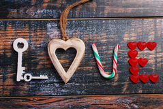 The word LOVE made of various objects Stock Photos