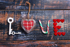 The word LOVE made of various objects Stock Images