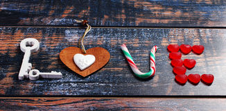 The word LOVE made of various objects Stock Image