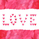 Word Love made of watercolor hearts Royalty Free Stock Images