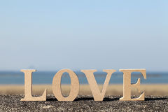 Word love made with wooden block Royalty Free Stock Images