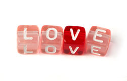 Word love on multicolored cubes Royalty Free Stock Images