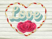 Word Love on old vintage wooden plates. EPS 10 Royalty Free Stock Images