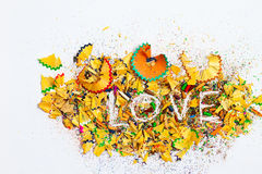 Word Love over a shavings Stock Photography