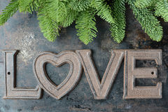 The Word Love and Part of Tree On Rustic Metal Background Stock Photos