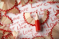 Word love, in pencil Stock Photo