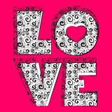 Word love. Pink word love. Vector illustration Royalty Free Stock Image