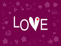 Word Love on a purple. Background. Suitable for birthday, valentine's day, wedding. Vector illustration Stock Photography