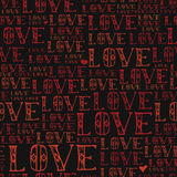 Word love, red colored, hand drawn vector seamless pattern Stock Photo