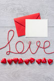 Word love and red envelope with letter Stock Image