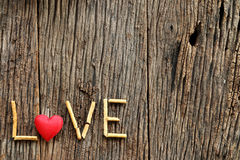 Word love with red heart shaped valentines day Royalty Free Stock Photography