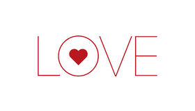 Word love with red heart. Vector illustration of word love with red heart, valentine message, isolated on white Royalty Free Stock Photo