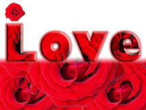 Word of Love - red roses design over white Royalty Free Stock Photos