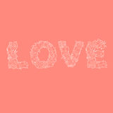 Word love on red Royalty Free Stock Photo