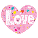 Word Love retro typography lettering text heart card Royalty Free Stock Image
