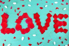 Word love rose petals Stock Photo