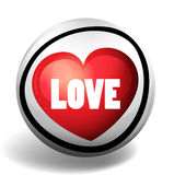 Word love on round badge Royalty Free Stock Image
