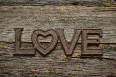 Word Love on rustic wood Stock Photos