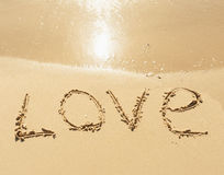 Word love on the sand Royalty Free Stock Photography