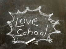 The word love school in bubble sign. Background stock photography