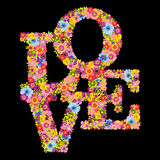 Word love shaped flowers on black background Royalty Free Stock Photo