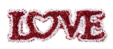 The Word Love Shaped White and Red Tinsel Stock Photography