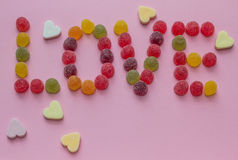 Word love spelled with candy Royalty Free Stock Images