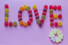 Word love spelled with candy Stock Photography