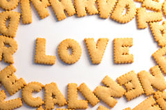 Word love spelled with home made cookies Royalty Free Stock Photos
