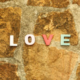 Word love on the stone floor Stock Photo