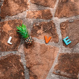 Word love on the stone floor Stock Photos