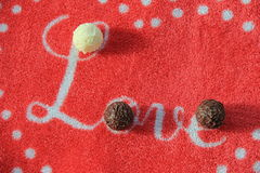 The word Love and truffles Royalty Free Stock Image