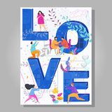 Word LOVE typography on creative concept poster for Valentine Day. royalty free illustration