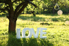 Word Love under the tree. The word love under a tree on the grass Royalty Free Stock Photo