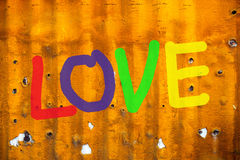 Word LOVE (uppercase) on background Royalty Free Stock Image