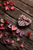 Word Love with Valentines Day gift box Royalty Free Stock Image