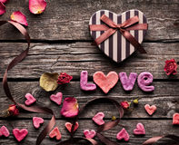Word Love with Valentines Day gift box Royalty Free Stock Photo