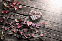 Word Love with Valentines Day gift box Royalty Free Stock Photos