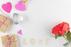 Word LOVE on white background with space for text, Love icon, valentine`s day. Relationships concept stock photography