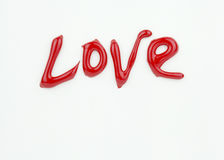 Word Love on white Valentine Card Royalty Free Stock Image