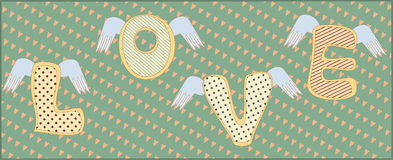 The word Love with wings. The letters Love with wings on the green old background with small hearts. The background or poster in vintage style Stock Image