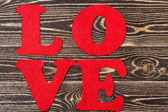 Word Love on wooden background for Valentine's day Royalty Free Stock Images