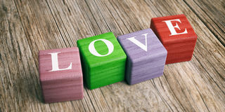 Word Love on wooden blocks. 3d illustration Royalty Free Stock Photos