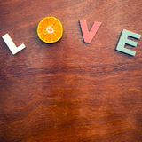 Word love on a wooden board Royalty Free Stock Image