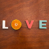 Word love on a wooden board Royalty Free Stock Images