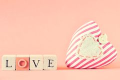 Word love on wooden cubes Royalty Free Stock Image