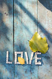 Word love of wooden dominoes Royalty Free Stock Images
