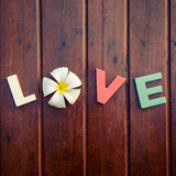Word love on the wooden table Royalty Free Stock Image
