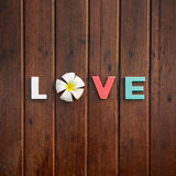 Word love on the wooden table Stock Photo